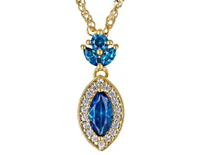 Pre-Owned Blue And White Cubic Zirconia 18K Yellow Gold Over Sterling Silver Pendant With Chain 1.35