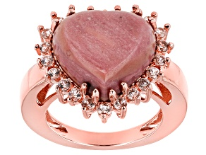 Pre-Owned Pink Rhodonite Copper Ring 1.21ctw