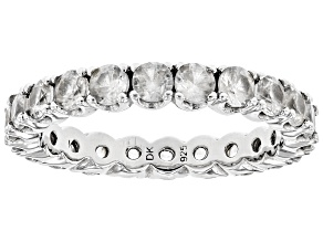 Pre-Owned White Zircon Sterling Silver Eternity Band Ring 4.00ctw