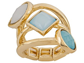 Picture of Pre-Owned Simulant Turquoise Gold Tone Stacked Stretch Ring