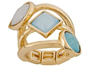 Pre-Owned Simulant Turquoise Gold Tone Stacked Stretch Ring