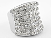 Pre-Owned Diamond 3.00ctw Round And Baguette Rhodium Over Sterling Silver Ring