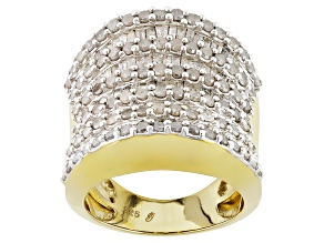 Pre-Owned White Diamond 14k Yellow Gold Over Silver Ring 3.00ctw