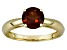 Pre-Owned Womens 1.5ctw 7mm Round Red Garnet Solid 14kt Yellow Gold Solitaire Ring