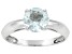 Pre-Owned Womens 1ctw 7mm Round Blue Aquamarine Solid 14kt White Gold Solitaire Ring