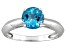Pre-Owned Womens 1.62ctw 7mm Round Blue Topaz Solid 14kt White Gold Solitaire Ring