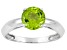 Pre-Owned Womens 1.32ctw 7mm Round Green Peridot Solid 14kt White Gold Solitaire Ring