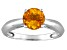 Pre-Owned Womens 1.2ctw 7mm Round Yellow Citrine Solid 14kt White Gold Solitaire Ring