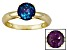 Pre-Owned 1.62ct 7mm Round Created Alexandrite 14k Yellow Gold Solitaire Ring