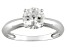 Pre-Owned Womens 1.6ctw 7mm Round White Zircon Solid 14kt White Gold Solitaire Ring