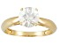Pre-Owned 1.60ct 7mm Round Faceted White Zircon 14k Yellow Gold Solitaire Ring
