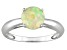 Pre-Owned Womens 0.64ctw 7mm Round White Opal Solid 14kt Yellow Gold Solitaire Ring