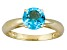 Pre-Owned 1.62ct 7mm Round Faceted Swiss Blue Topaz 14k Yellow Gold Solitaire Ring