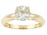 Pre-Owned 1ct 7mm Round Faceted Aquamarine 14k Yellow Gold Solitaire Ring