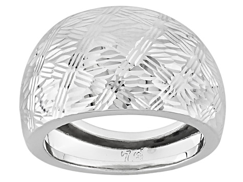 Pre-Owned 10k White Gold Hollow Diamond Cut Dome Ring