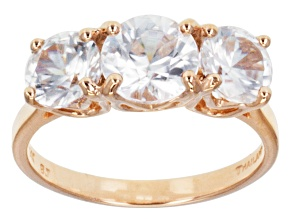 Pre-Owned White Zircon 14k Rose Gold 3-Stone Ring 3.57ctw