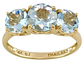 Pre-Owned Womens 2.61ctw Round Blue Aquamarine Solid 14kt Yellow Gold 3-Stone Ring