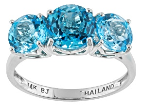 Pre-Owned Swiss Blue Topaz 14k White Gold Ring 3.84ctw.