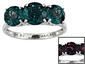 Pre-Owned Women Three Stone Ring Lab Created Alexandrite 3.80ctw 14kt White Gold