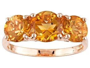 Pre-Owned Yellow Citrine 14k Rose Gold 3-Stone Ring 2.46ctw