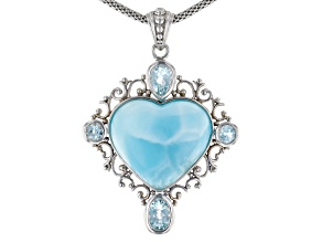 Heart Shape Larimar, 2.35ctw Light Blue Topaz .925 Sterling Silver Pendant Chain