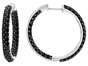 Natural 4.5ctw Round Black Spinel .925 Sterling Silver Hoop Earrings
