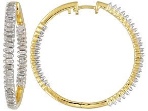 1ctw Baguette Diamond 18k Gold Over Silver Hoop Hinged Earrings