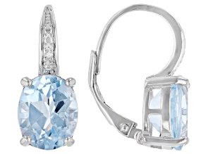 6ctw Oval Blue Topaz and Diamond Accent .925 Sterling Silver Drop Earrings
