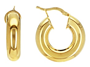 PRE-OWNED Moda Al Massimo® 6MM 18K YELLOW GOLD OVER BRONZE ROUND HOOP EARRINGS                MAD