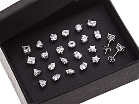 Womens Stud Earrings Set Of 12 Round Square Emerald Cubic Zirconia Silver