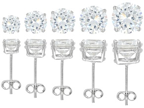 PRE-OWNED BELLA LUCE ® 17.25CTW ROUND RHODIUM PLATED STERLING SILVER EARRINGS SET OF 5