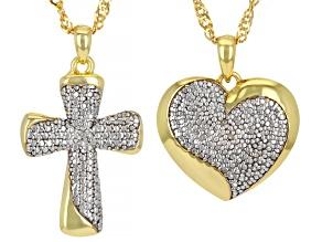 PRE-OWNED EMULOUS™ DIAMOND ACC .02CTW 18K YELLOW GOLD OVER BRASS HEART & CROSS PENDANTS SET OF 2