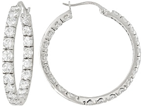 PRE-OWNED BELLA LUCE ® 7.56CTW ROUND RHODIUM PLATED STERLING SILVER HOOP EARRINGS