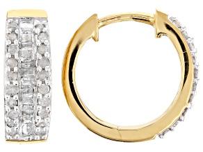 .50ctw Genuine Diamond 14k Yellow Gold Over .925 Sterling Silver Huggie Hoop Earrings