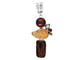 Pre-Owned Artisan Collection Of india Ammolite Doublet With 5.98ctw Multi-Gem Silver Pendant