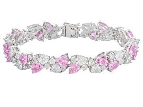 BELLA LUCE ® 45.27CTW PINK & WHT DIA SIMULANT RHOD PLATED STERLING SILVER BRACELET/7.25