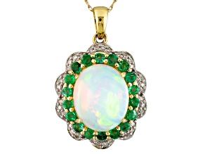 Multi color Ethiopian opal 10k yellow gold pendant with chain 3.63ctw.