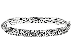 Pre-Owned Artisan Gem Collection Of Bali™ Sterling Silver Filigree Hinged Bangle Bracelet