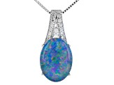 Pre-Owned Mutlicolor triplet Cooper Pedy opal sterling silver pendant 1.18ctw