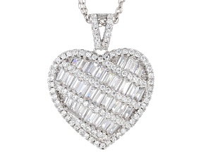 cubic zirconia rhodium over silver pendant with chain 4.02ctw