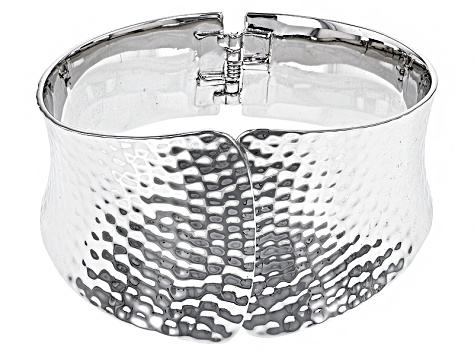 Pre-Owned Rhodium Over Sterling Silver Hammered 7 1/4 inch Cuff Bracelet