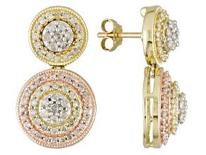 White Diamond 14k Three-Tone Gold Earrings 1.00ctw