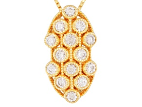 White Zircon 18k Gold Over Silver Pendant With Chain 1.19ctw