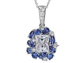 Pre-Owned Blue And White Cubic Zirconia Platineve Pendant With Chain 7.48ctw