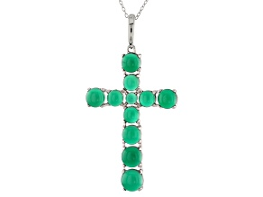 Pre-Owned Green Onyx Sterling Silver Cross Enhancer With Chain