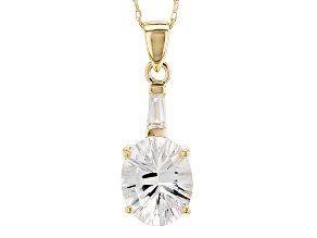 Pre-Owned White Danburite And White Zircon 10k Yellow Gold Pendant 2.42ctw