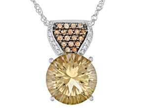 Pre-Owned Champagne Quartz Sterling Silver Pendant With Chain 5.81ctw