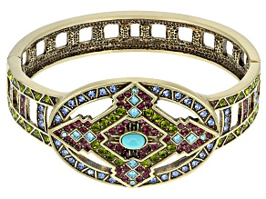 Pre-Owned Multicolor Crystal Turquoise Simulant Antiqued Gold Tone Bracelet