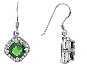 Pre-Owned Green Russian Chrome Diopside Sterling Silver Earrings 2.83ctw.