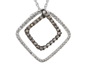 Pre-Owned Champagne And White Diamond Rhodium Over Sterling Silver Pendant .50ctw